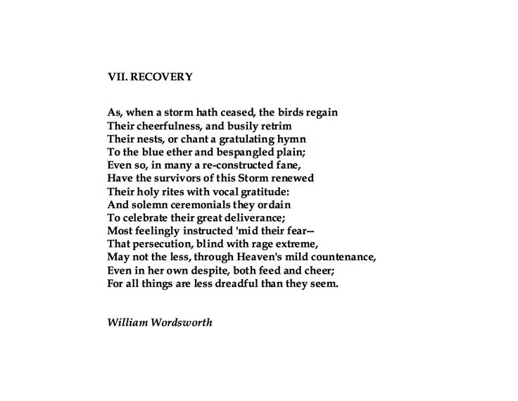 William Wordsworth, Recovery