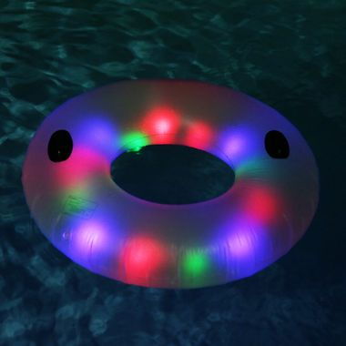 "Looking for the perfect companion for those lazy, hazy, crazy days (and nights) of summer?  Get your tan on while preparing for epic nights and epic lights with our large Deluxe Illuminated Water Tube.  Whether you're in the pool, lake or river... hang onto the strong ""Lazy River"" style rubber grip handles.  Be the highlight of the party with the 13 Super Bright LEDs that can be set to either flash slow, fast or just glow.  The LEDs are inside the water tube so they're not exposed to water…"