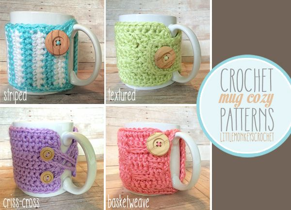Crochet mug cozies - get the blue/white striped pattern for FREE at my blog! | www.littlemonkeyscrochet.com