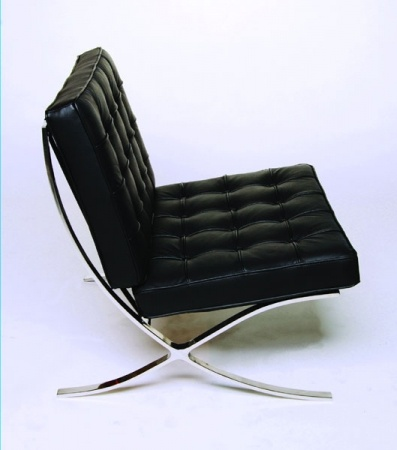 Barcelona Chair Black OR White/Cream OR Brown     Barcelona Chair in Leather - Classic Furniture Covered in Italian leather, with a 12mm polished stainless steel frame Matching footstool also available Dimensions: Height: 800mm Length: 770 mm Width: 770 mm