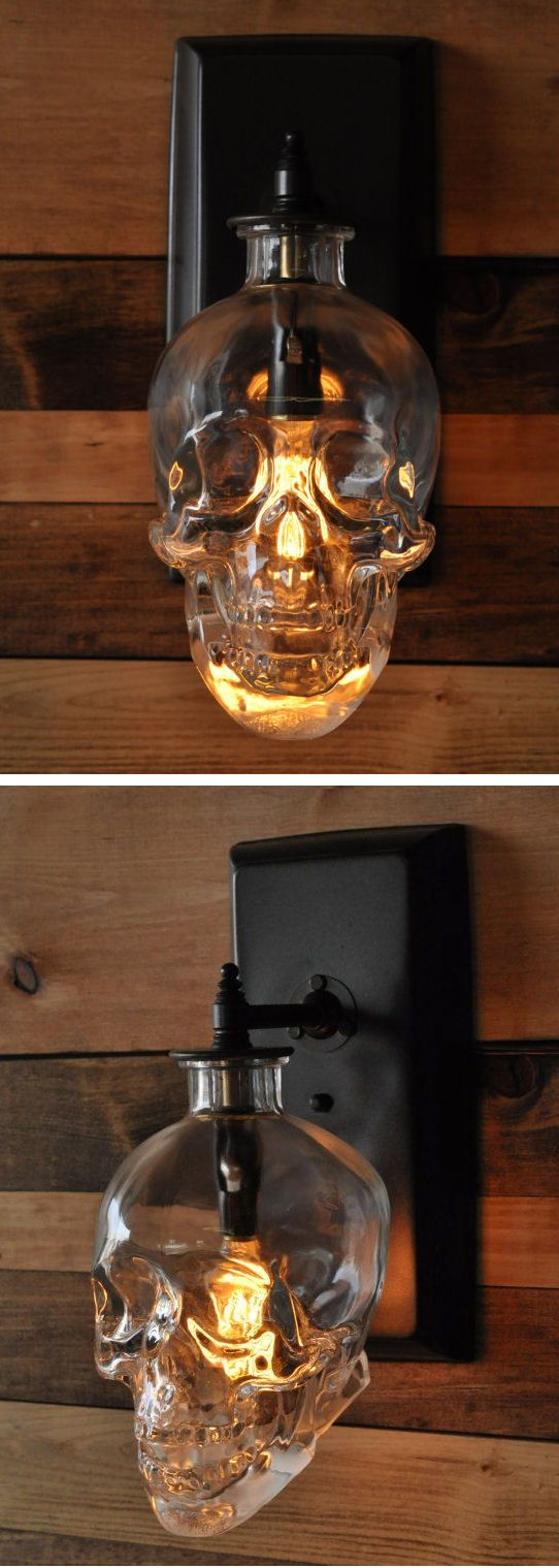DIY Idea Skull Wall Sconce // Crystal Head Vodka  Love it!! Off to get some…