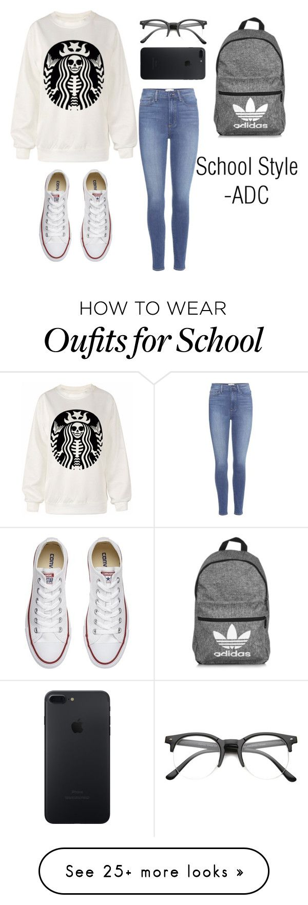 """School Style"" by anatiller on Polyvore featuring Paige Denim, Converse, adidas and ZeroUV"