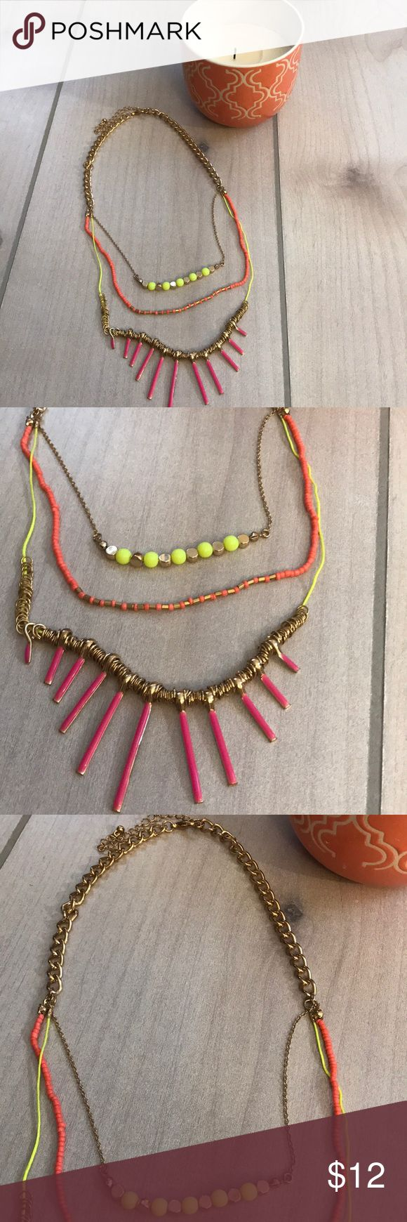 Colorful gold statement necklace 3 pieces connected by a thick gold chain neon yellow and gold beads peach and gold beads and gold with long neon pink  Super cute to be paired with just about anything Jewelry Necklaces
