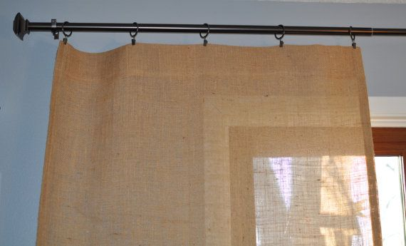 Burlap Curtain Panel with Reinforced Top for Ring by NaptimeDIYer, $20.00
