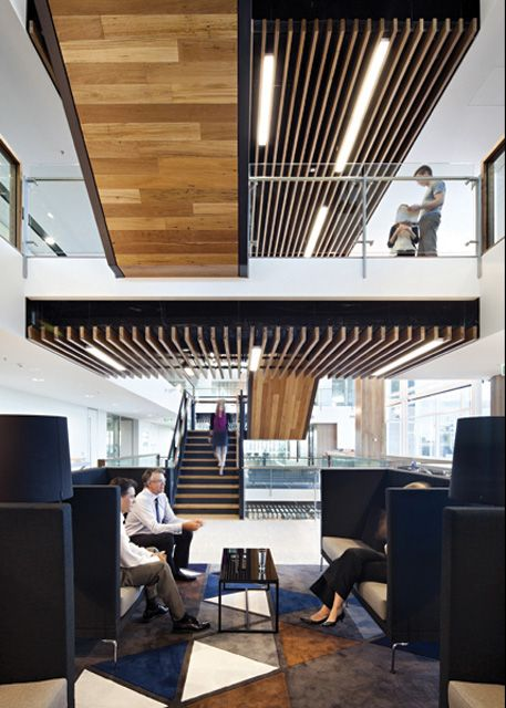 AECOM - North Tower HQ: The timber featured in AECOM's workspace is one hundred percent post consumer recycled Australian black butt that came from a disused Australian Sugar Mill #boh2014 #unlockbrisbane #brisbane #discoverbrisbane