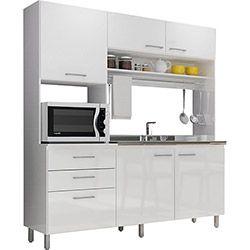 Cozinha Compacta Completa Móveis LC310BC/BC 4 Peças com Paneleiro e Gavetas Branco