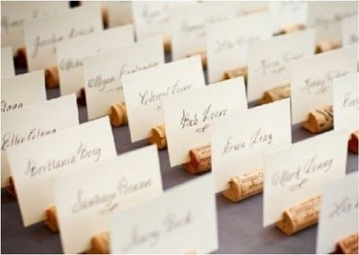 Wine cork name holders. A friend of mine did this, it was super cute!