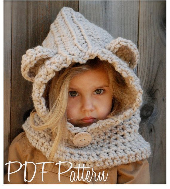 Crochet PATTERN-The Baylie Bear Cowl (3/6 months, 6/12 months, 12/18 month,Toddler, Child, Adult sizes)