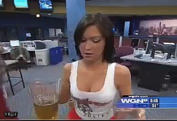 Hooters Waitress Does Barstool Rodeo On TV News.