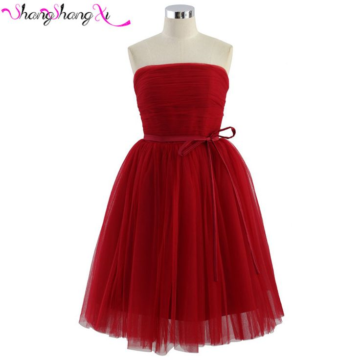 Red Pink Sliver Blue Girls Ball Short Cocktail Dresses 2016 Sexy Prom Party Gown Robe De Cocktail Feestjurken Bow Sashes SSX069