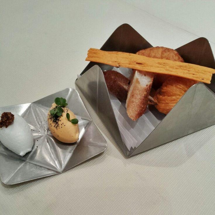 Delicious bread basket. Quinoa breadsticks, aji amarillo chili pepper and onion bread, chicha bread with dried apricots and raisins, yellow potato bread with smoked lardo (so good) and smoked salmon butter at @GastonAcurio #AstridyGaston (#2 on #LatinAmericas50 @TheWorlds50Best Restaurant) #FMFinPeru #Lima #Peru