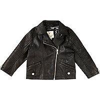 Mini girls black leather-look biker jacket - baby girls coats / jackets - mini girls - girls