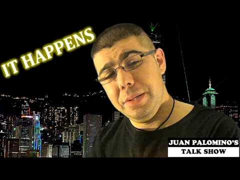 In the episode of Juan Palomino's Talk Show, he reviews how women fart in public, a hilarious implosion of cow manure, a fishing experience gone wrong, a deployment of a parachutist parachute gone wrong, a male fan who slaps Rihanna, and a meteorologist who battles with the hiccups.