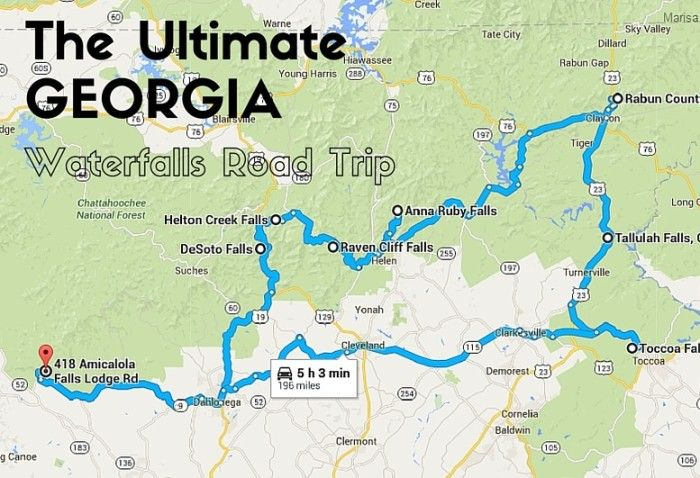 The ultimate Georgia waterfalls road trip. Just over five hours of driving for ten different waterfalls!