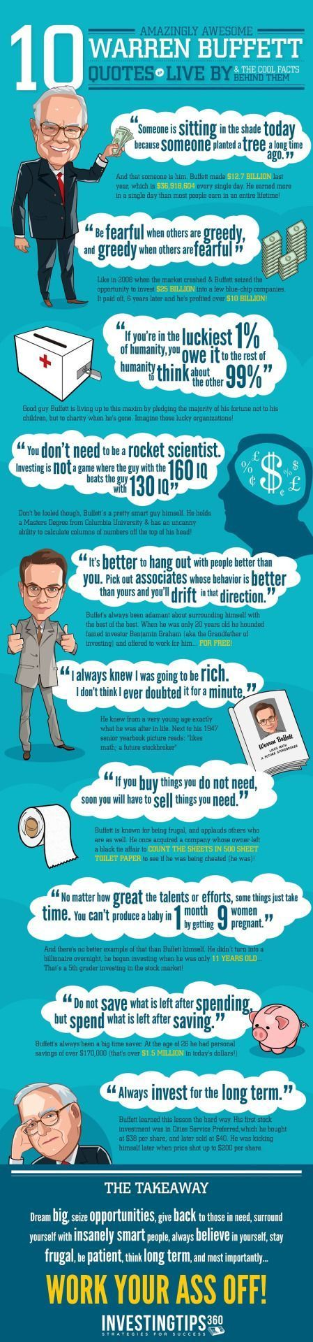 GEM Passive Income News : Photo Warren Buffett Quotes – Wisdom From a Billionaire Informative infographic produced by Investingtips360, the comment below is done by Shelby Nousain; If there's one person you'll want to take investing or financial advice from, it's Warren Buffett. He's one of the richest men on the planet, and one of the most successful businessmen of all time. He's got a net worth of about $63 Billion, and when he speaks the world listens.