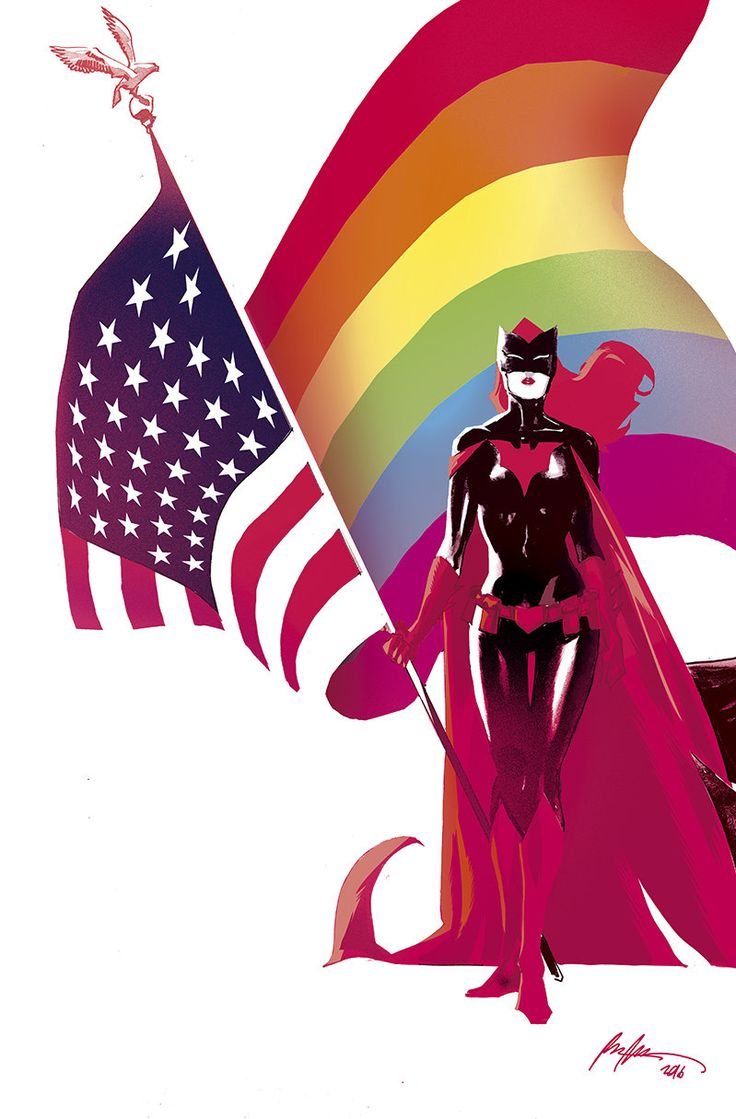 """A Batwoman pinup by Rafael Albuquerque, from the """"Love Is Love"""" comic."""