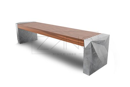 Betonowa ławka bez oparcia.