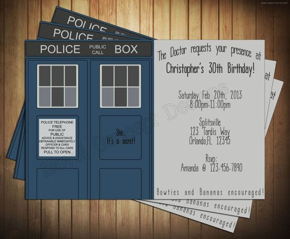 invitations dr who | Doctor Who Tardis Birthday Party Invitation | Dr Who Party - Creamer ...
