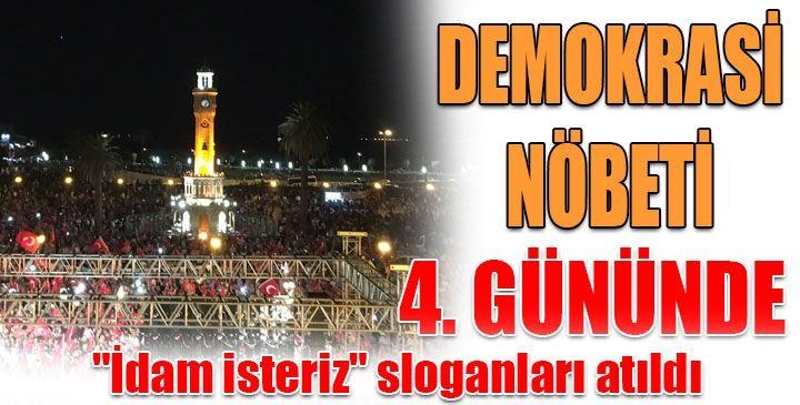 İzmir'de darbe karşıtı binlerce kişi, demokrasi nöbetini geceden sabaha bir an olsun bırakmadan, ellerindeki Türk bayraklarını darbe girişimcilerine karşı duruyor