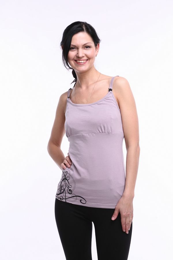 This breastfeeding camisole allows you to breastfeed with comfort and discretion; it is equipped with a built-in breastfeeding bra (no separate bra needed). To breastfeed unbuckle and drop down the front layer to access slits in the under-layer. www.fancymom.com