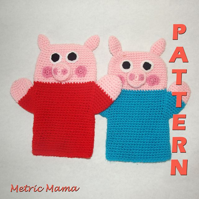 This pattern was inspired by the TV show Peppa Pig. Fans of the show, big and small, will love playing with these little hand puppets, modeled after the traditional Felt Puppet shape.