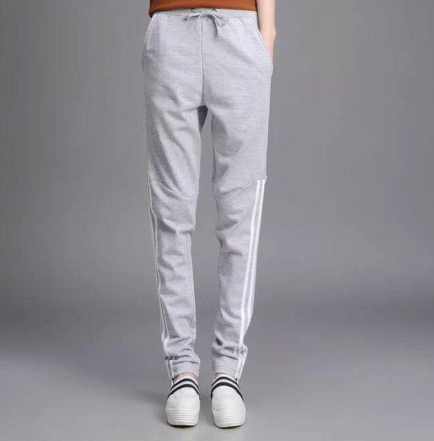 2017 Summer Pants Women Casual Fit Pants Cotton Harem Pants Casual Elastic Waist Stripe Leisure Trousers Plus Size Sportswear