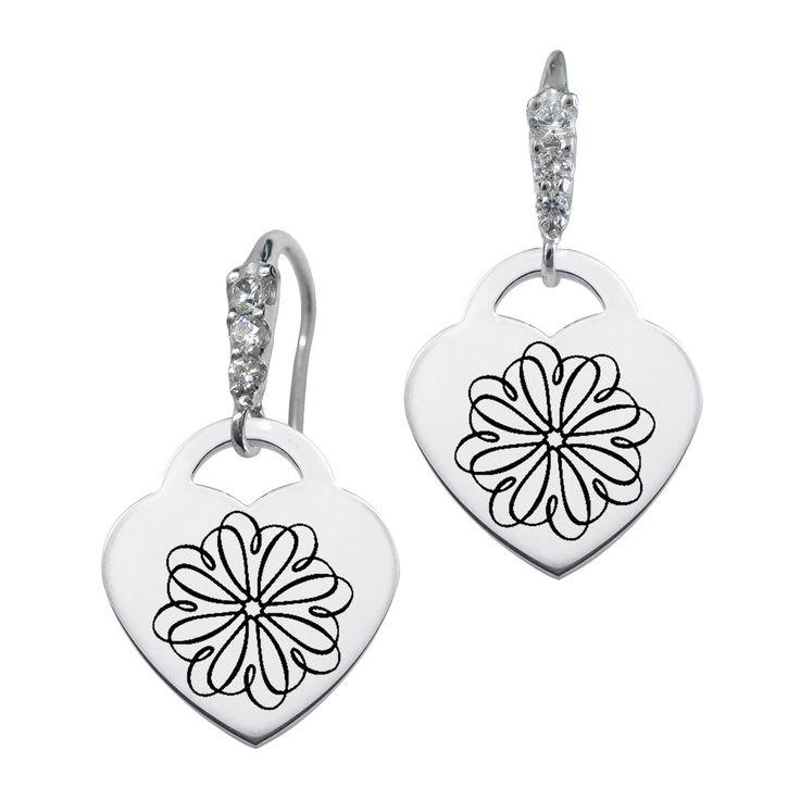 Sigma Kappa Symbol CZ Cluster Heart Earrings