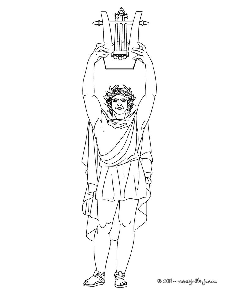DIOS APOLO para colorear, dios griego de la música y de las artes