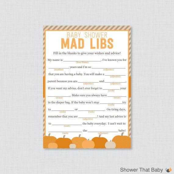 Little Pumpkin Baby Shower Mad Libs Printable