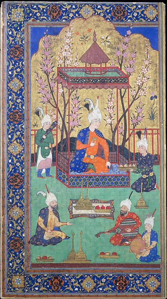 Prince in a Garden Courtyard Date: 1525–30 Geography: Iran, Tabriz Medium: Opaque watercolor, ink, gold, and silver on paper Dimensions: 8 9/16 x 4 3/4in. (21.7 x 12.1cm) Metropolitan Museum of Art 11.39.1