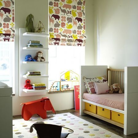 You want baby to sleep through the night and be able to take naps during the day, so install a blackout blind or blackout-lined curtains in a nursery. In a neutral-themed room add vibrant colour or a fun pattern to the room when choosing a fabric for your blinds