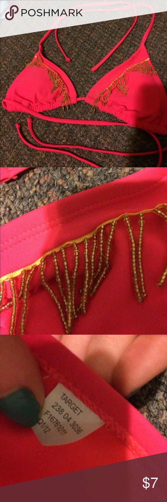 Target bikini top Cute bead fringe details. Removable padding. Never worn Xhilaration Swim Bikinis