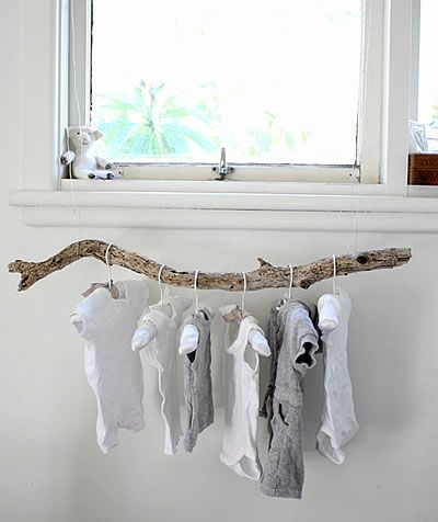 for the babe of the family. Unpacking and hanging a bit of the wrinkling things in a fun and lovely way.