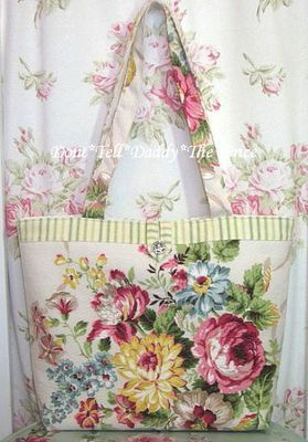Fabulous Vintage Barkcloth Fabric Tote Shabby Pink Roses Chic Rhinestone Button | eBay