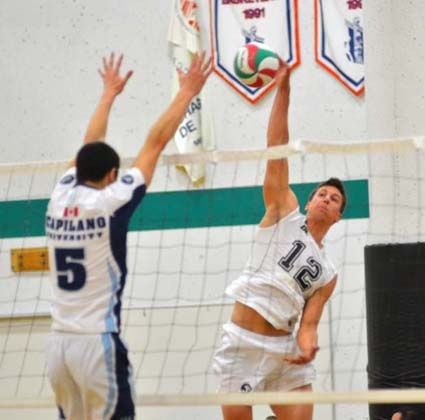 Close as it gets: Second-ranked Douglas College Royals defeat Capilano University earlier in the day, but lost a five-set tiebreaker 15-13 to the No. 1-nationally ranked Red Deer College Kings at the Christmas men's volleyball tournament at the New Westminster campus.