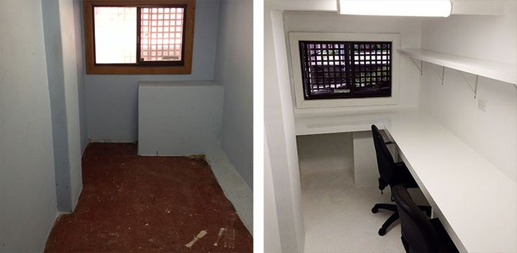 "BEFORE and AFTER shot: One of the old storage rooms was selected for a home office, and a bench style desk was built along one side of the room. The desk height was dictated by the house foundations, probably 50mm higher than the average, but less of a problem for a 6'2"" frame."