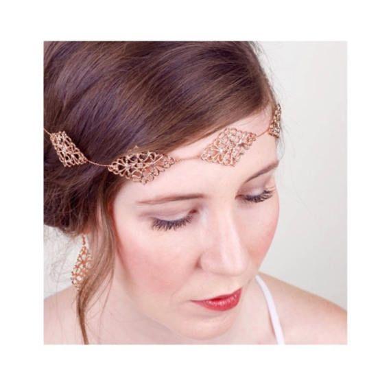 Rose Gold Bridal Filigree Hair Vine Rose Gold Sash Belt