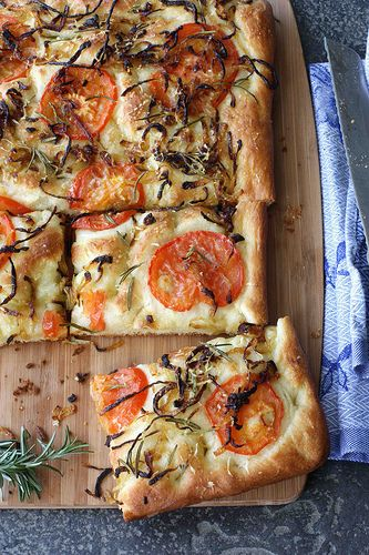 Focaccia with Caramelized Onion, Tomato and Rosemary...i just died a little inside when i looked at this