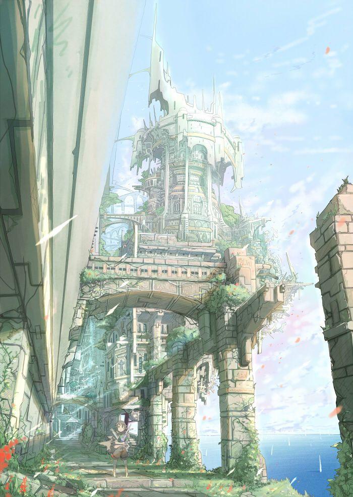 Wall City by なば Fantasy art landscapes, Anime scenery
