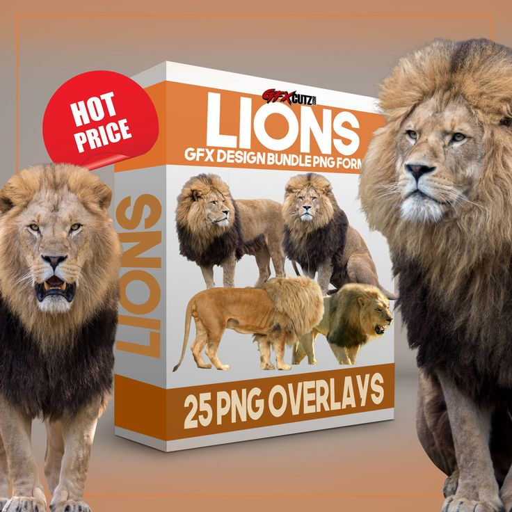 "Lions GFX Design Bundle PNG Format - No Background Images  25 Separate Files ""Butterflies GFX Cutz Bundle"". (Over 100+ Images)  (Delivered in a PNG format ( meaning with no background).   All 25 Files are already cut out and ready to use. After your purchase, you will be sent a Zip file to download and save. be sure you save them as PNG files... So the transparent background remains transparent."