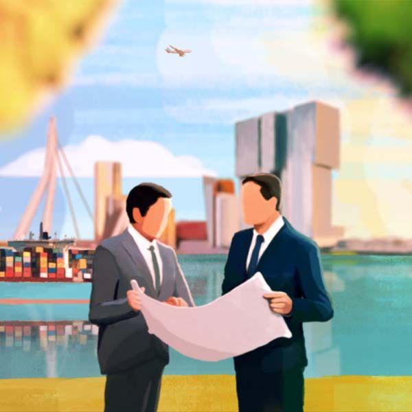 Plan Rotterdam Stad illustratie Animatiestijl Woensdag © 2016 Animatiestudio Nederland Managers Planning City illustration