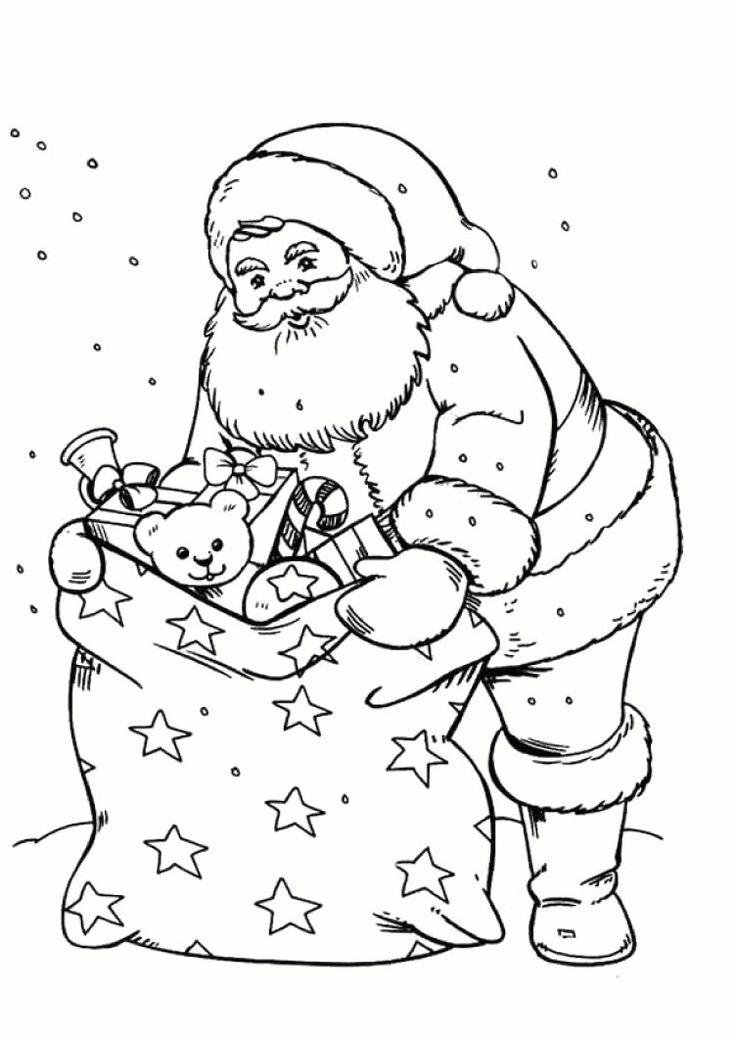 coloriage pere noel a imprimer gratuit | Christmas ...