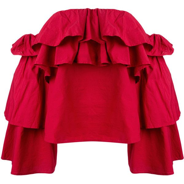 Erika Cavallini Flavie off-shoulders blouse (€285) ❤ liked on Polyvore featuring tops, blouses, red, red top, red blouse, red off the shoulder top, cotton blouse and off shoulder tops