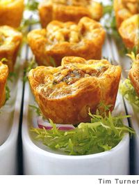 Caramelized Onion, Walnut, and Roquefort Tarts Recipe.  appetizer. finger food.  party food.  entertaining