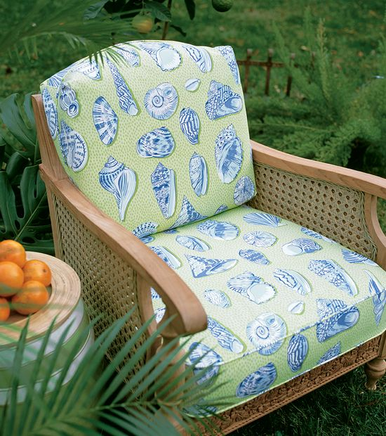 Monterey Outdoor Fabric in Green & Blue from the Courtyard Collection ~~~