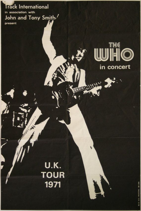 Vintage Music Art Poster The Who Uk Tour 1971 0275 Etsy Vintage Music Art Concert Posters Vintage Music Posters