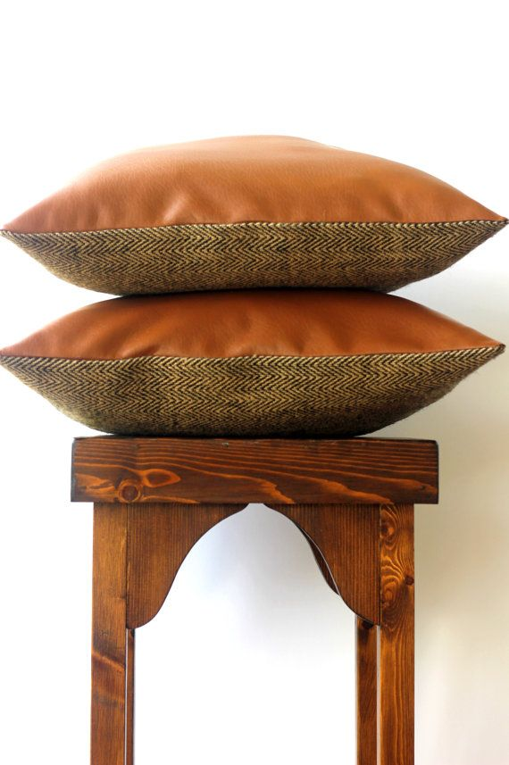 Harvest Spice Leather Pillow Cover 18 x 18 by LonelyHunterHome