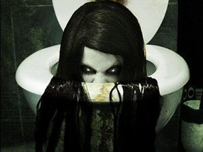 Some folks tend to be paranoid about snakes coming up through the drain, but this is a whole 'nuther order of craziness. This is the  Japanese ghost called Toire no Hanako-san who haunts the toilets in girls' restrooms in schools, which are scary places anyhow.