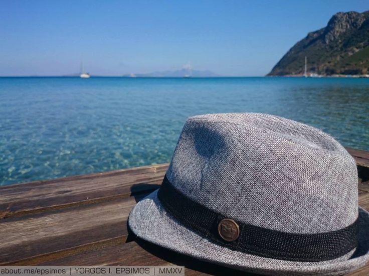 #Nisiros on the horizon, View of #Kefalos Kamari Bay, #Kos Island Greece