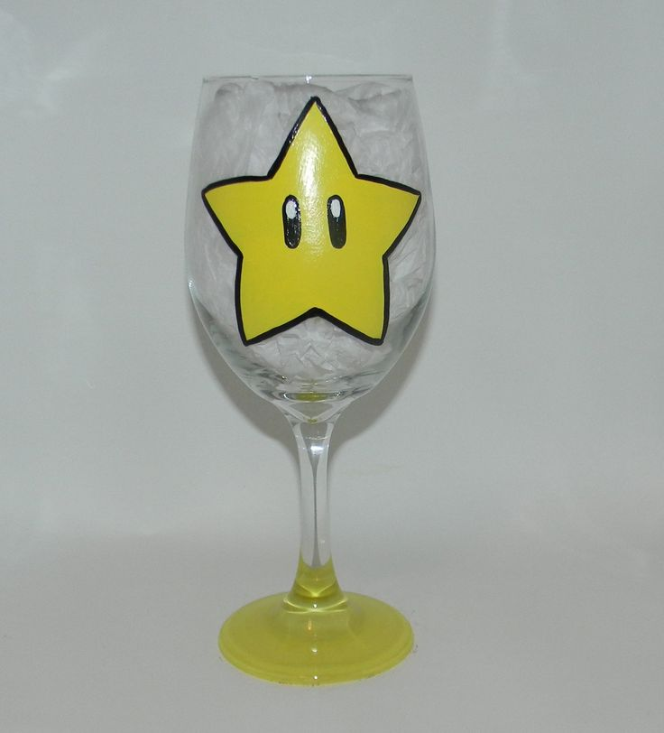 Super Mario Star wine glass. Hand painted 20 ounce wine glass with the Super Star from Super Mario brothers on it. The bottom of the base is painted yellow to match. Each one of my glasses is hand painted, no stickers or vinyl are used, and they are hand wash only. Because of the nature of each glass being hand painted, lines may vary from glass to glass, and color may vary from different screen resolutions. Please don't hesitate to contact me with any questions you may have!.